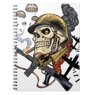 Smoking Skull with Helmet, Airplanes and Bombs Notebook