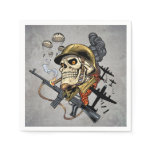 Smoking Skull with Helmet, Airplanes and Bombs Paper Napkin