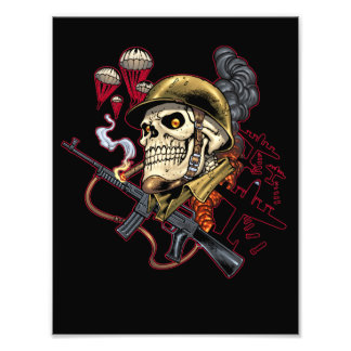 Smoking Skull with Helmet, Airplanes and Bombs Photo Print