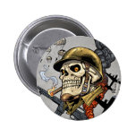 Smoking Skull with Helmet, Airplanes and Bombs Pinback Button