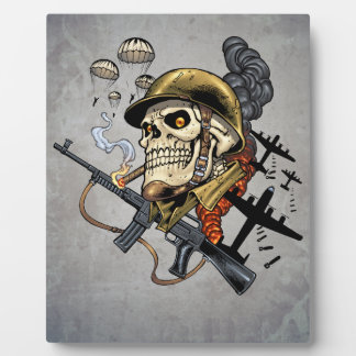 Smoking Skull with Helmet, Airplanes and Bombs Photo Plaques