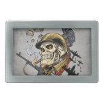 Smoking Skull with Helmet, Airplanes and Bombs Rectangular Belt Buckles
