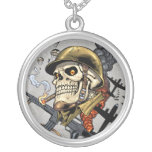 Smoking Skull with Helmet, Airplanes and Bombs Round Pendant Necklace