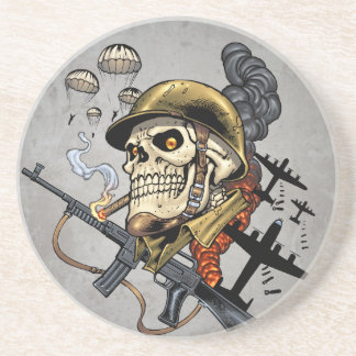 Smoking Skull with Helmet, Airplanes and Bombs Sandstone Coaster