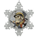 Smoking Skull with Helmet, Airplanes and Bombs Snowflake Pewter Christmas Ornament