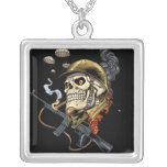 Smoking Skull with Helmet, Airplanes and Bombs Square Pendant Necklace