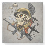 Smoking Skull with Helmet, Airplanes and Bombs Stone Coaster