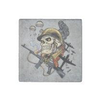 airborne, military, parachutes, skull, skeleton, gothic, war, veterans, art, illustration, al rio, [[missing key: type_giftstone_magne]] com design gráfico personalizado