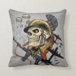 Smoking Skull with Helmet, Airplanes and Bombs Throw Pillow