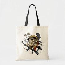 airborne, military, parachutes, skull, skeleton, gothic, war, veterans, art, illustration, al rio, Bag with custom graphic design