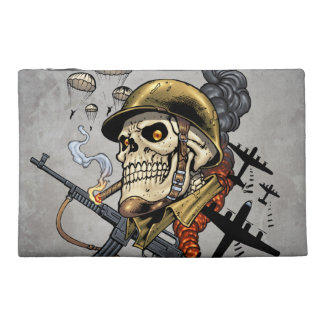 Smoking Skull with Helmet, Airplanes and Bombs Travel Accessory Bags
