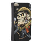 Smoking Skull with Helmet, Airplanes and Bombs Wallet Phone Case For iPhone SE/5/5s