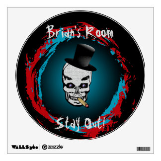 Smoking Skull with Tophat Wall Graphic