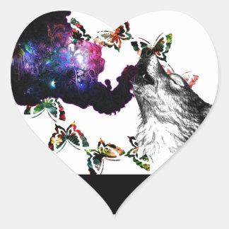 Smoking Wolf butterfly floral Heart Sticker