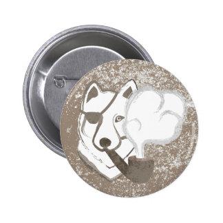Smoking Wolf Button