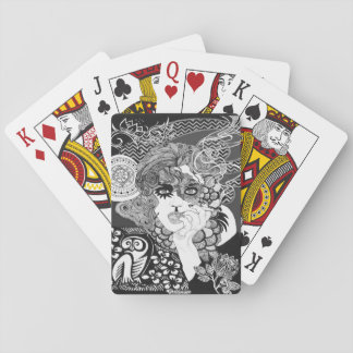 Smoking Woman Playing Cards