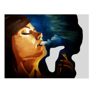 smoking woman postcard