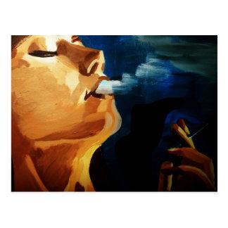 smoking woman postcard
