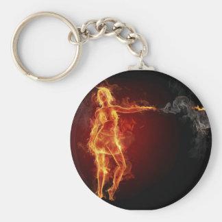 smoking woman with gun keyring keychain