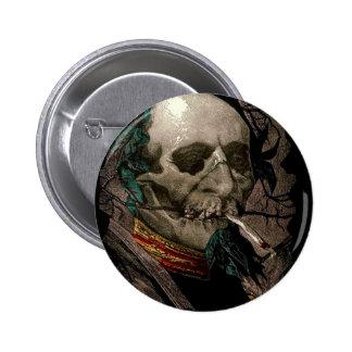 Smoking Zombie Man Skull Head Pot Cigarette Weird Pinback Button