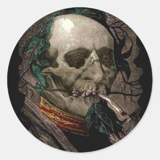 Smoking Zombie Man Stoner Bizarre Vintage Art Classic Round Sticker