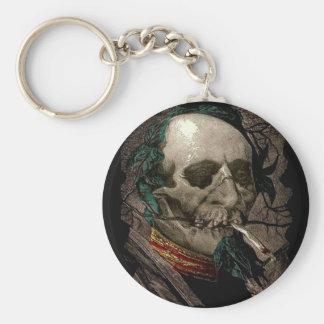 Smoking Zombie Man Stoner Bizarre Vintage Art Keychain