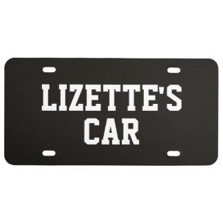 Smoky Black Add Name License Plate