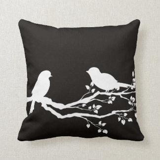 Smoky Black Scenic Resting Birds Throw Pillow