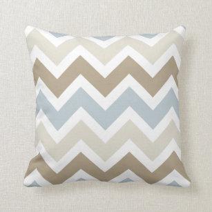 Blue Brown Chevron Pillows Decorative Throw Pillows Zazzle