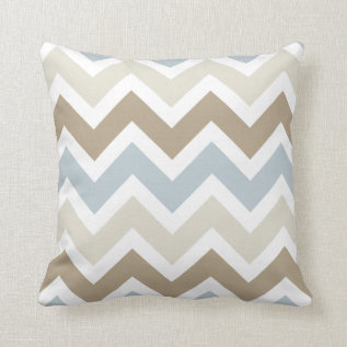 Smoky Blue Gray, Tan, And Brown Chevron Pattern Throw Pillow at Zazzle