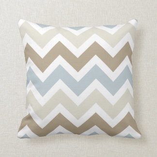 Smoky Blue Gray, Tan, and Brown Chevron Pattern Throw Pillow