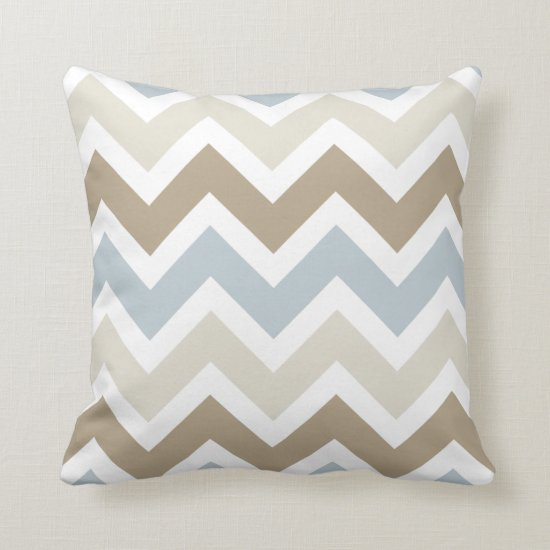 Smoky Blue Gray Tan and Brown Chevron Pattern Throw Pillow