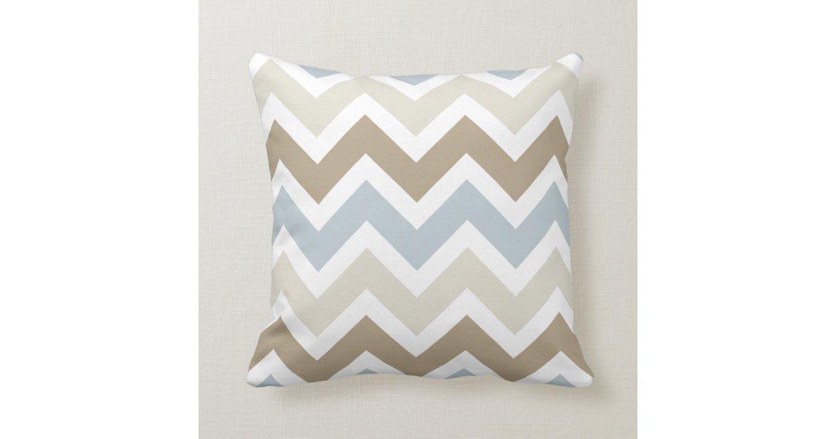Throw Pillows Plain : Smoky Blue Gray, Tan, and Brown Chevron Pattern Throw Pillow Zazzle.com