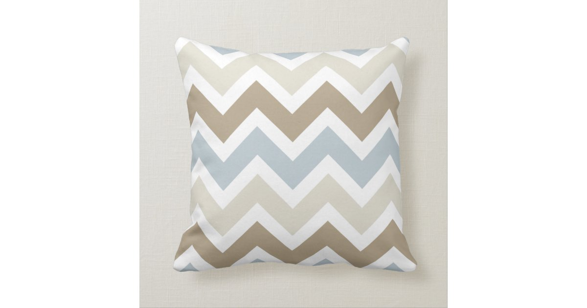 Smoky Blue Gray, Tan, and Brown Chevron Pattern Throw Pillow Zazzle