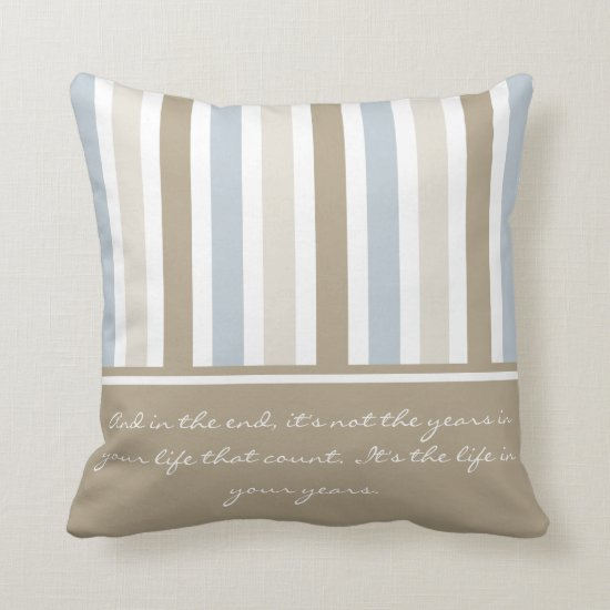 Smoky Blue Gray Tan and Brown Stripes Pattern Throw Pillow