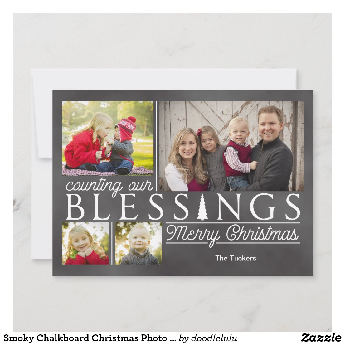 Smoky Chalkboard Christmas Photo Card