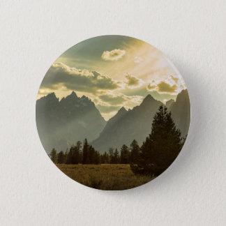 Smoky Golden Light On The Tetons Pinback Button