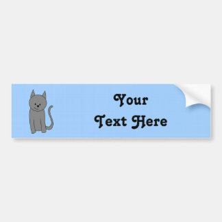 Smoky gray cat cartoon bumper sticker