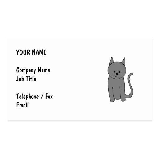Smoky gray cat cartoon. business card