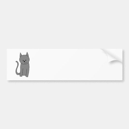 Smoky gray cat cartoon car bumper sticker