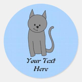 Smoky gray cat cartoon classic round sticker