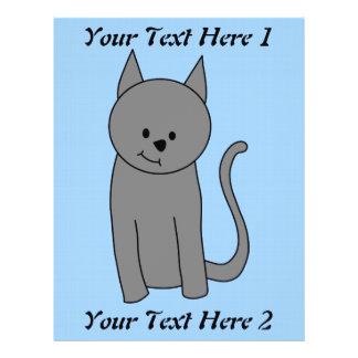 Smoky gray cat cartoon flyer