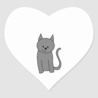 Smoky gray cat cartoon. heart sticker