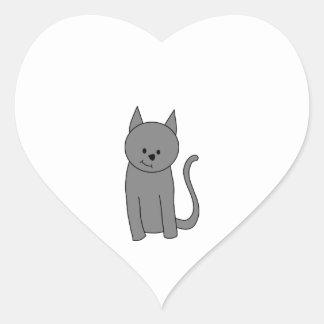 Smoky gray cat cartoon. heart sticker