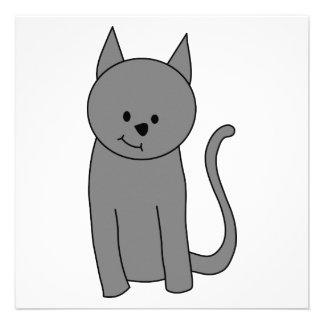 Smoky gray cat cartoon invite