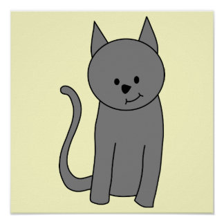 Smoky gray cat cartoon poster