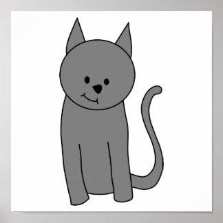 Smoky gray cat cartoon. poster