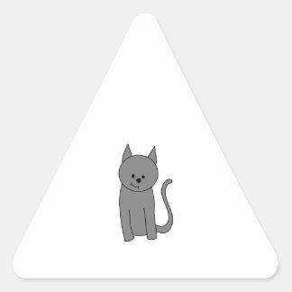 Smoky gray cat cartoon. triangle sticker