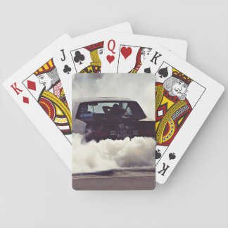 smoky heated  car playing cards