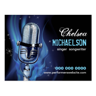 Smoky Microphone Performers Promotional Postcard